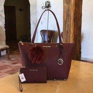 NWT Michael Kors lg Ciara handbag&wallet&pom pom